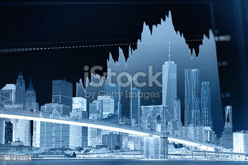 istock Business stock market chart graph investment future office building 981616024