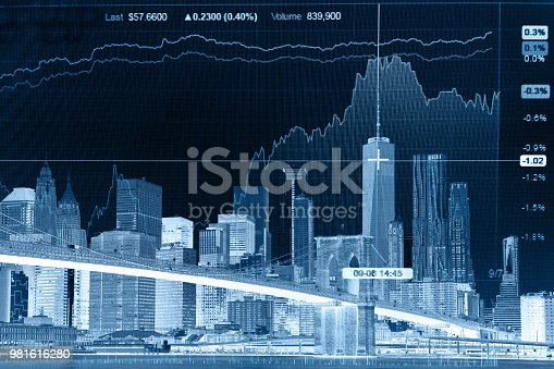 istock Business stock market chart graph investment future office building 981616280