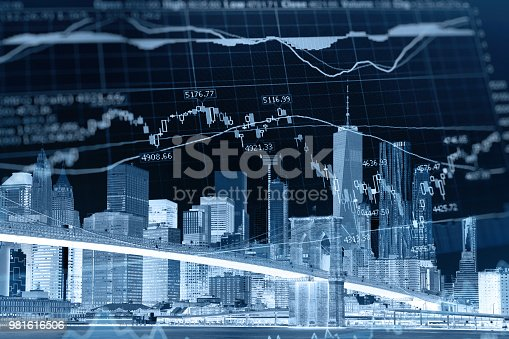 istock Business stock market chart graph investment future office building 981616506