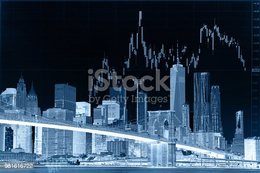 istock Business stock market chart graph investment future office building 981616722