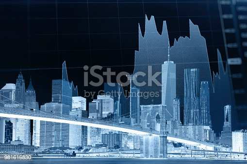istock Business stock market chart graph investment future office building 981616830