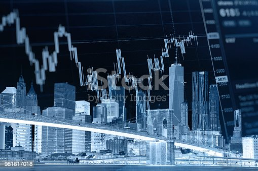istock Business stock market chart graph investment future office building 981617018