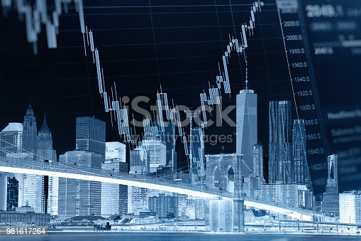 istock Business stock market chart graph investment future office building 981617264