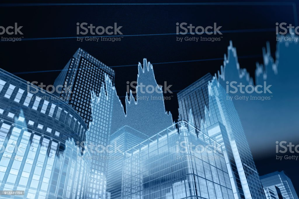 Business stock market chart graph investment office building