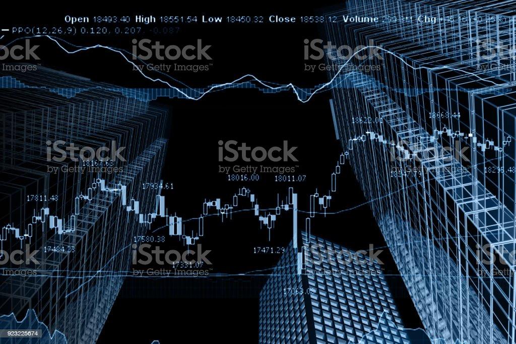 Business Börse Chart Diagramm Investitionen Bürogebäude – Foto