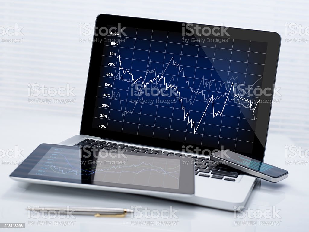 Business stocks on mobile devices stock photo