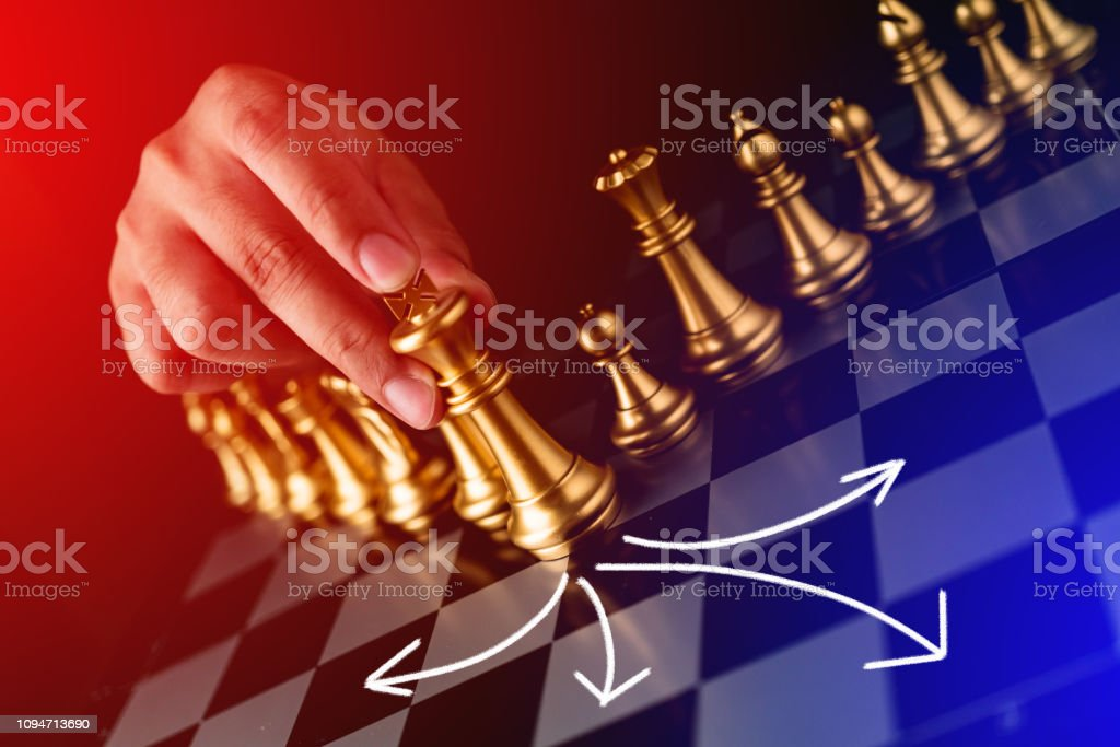 business strategy brainstorm chess board game with hand touch black...