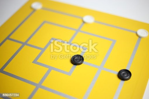 Business strategy concept, colorful board game, nine men's morris