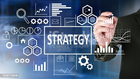 Business strategy concept. Businessman draw business strategy analytics scheme over blue background. Text typography design