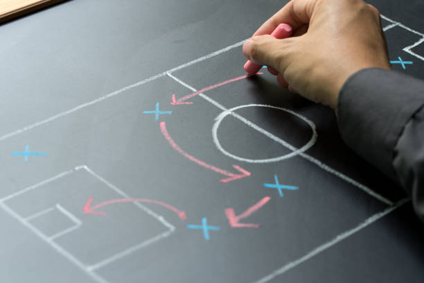 Business strategy concept Man planning for a football strategy on blackboard shock tactics stock pictures, royalty-free photos & images