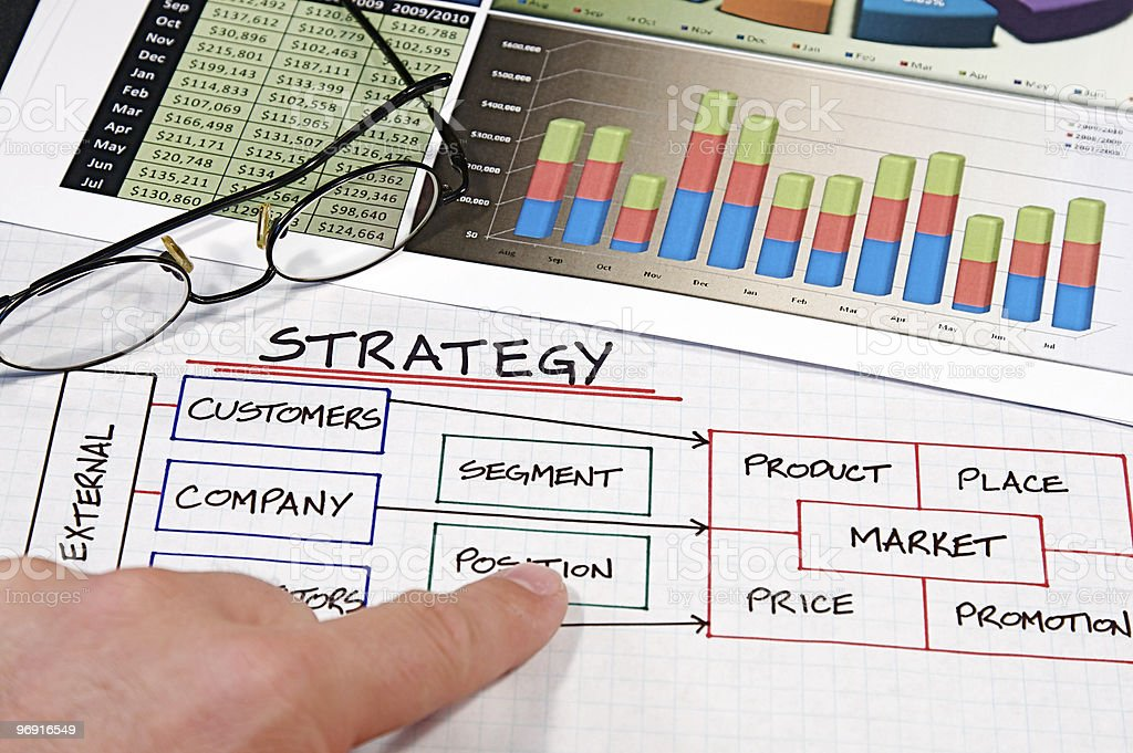Business strategy flowing charts royalty-free stock photo