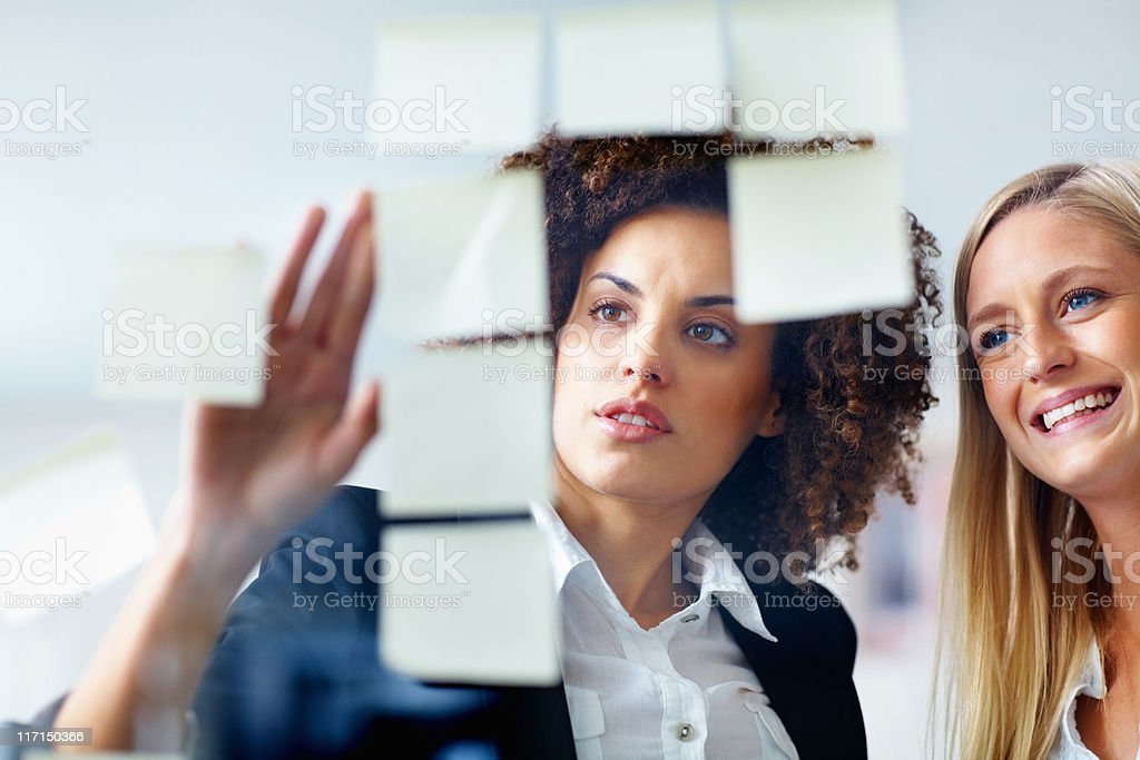 Business strategy with sticky notes royalty-free stock photo