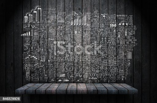 istock Business strategy wood background 846329926