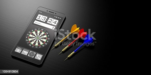 istock Business strategy.Target on a smartphone screen and arrows on black background, banner, copy space. 3d illustration 1054910934