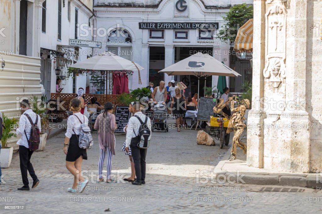 Business Street of havana, cuba stock photo