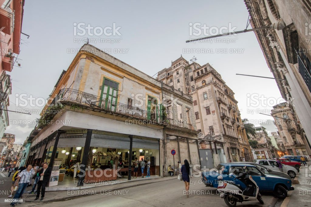 Business Streets of havana, cuba stock photo