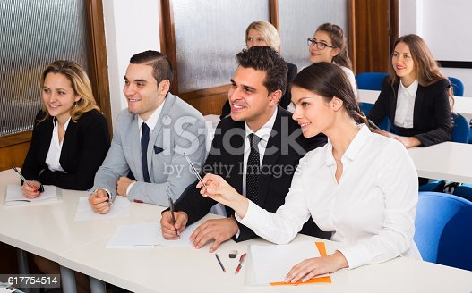 istock Business students in classroom 617754514