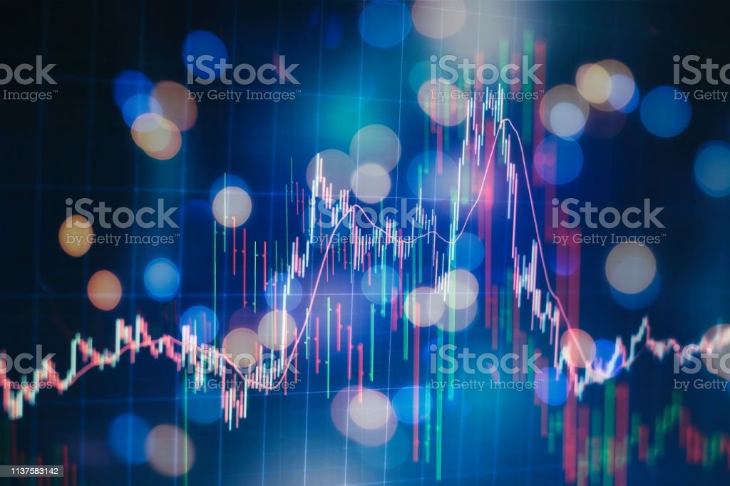 Economic graph with diagrams on the stock market, for business and...