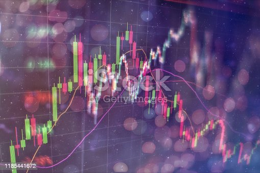 896567272istockphoto Business success and growth concept.Stock market business graph chart on digital screen. Economic graph with diagrams on the stock market, for business and financial concepts and reports.Abstract blue background. 1185441672