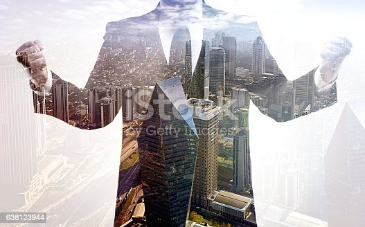 istock Business success and power double exposure 638123944