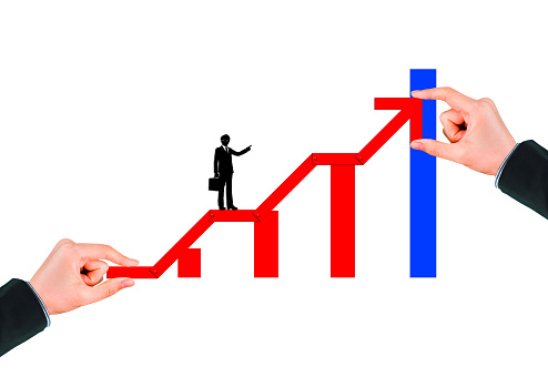 1062884120 istock photo Business success concept with rising red arrow on white background 1210235059