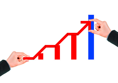 1062884120 istock photo Business success concept with rising red arrow on white background 1210235066