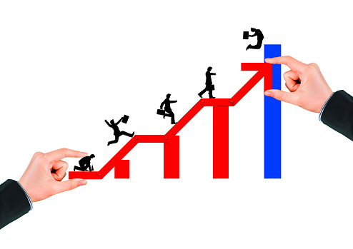 1062884120 istock photo Business success concept with rising red arrow on white background 1210235116
