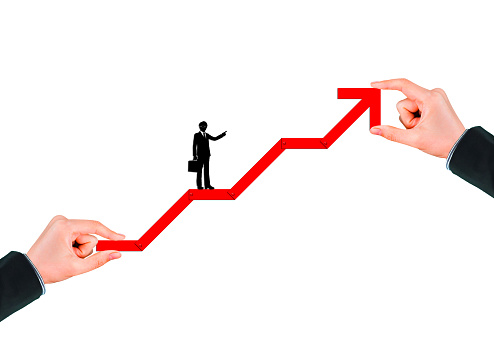 1062884120 istock photo Business success concept with rising red arrow on white background 1210235122