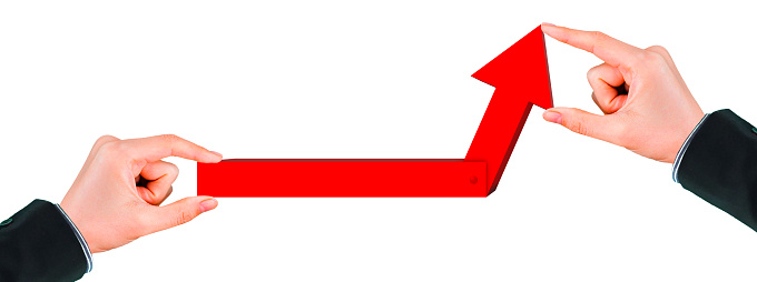 1062884120 istock photo Business success concept with rising red arrow on white background 1210235133