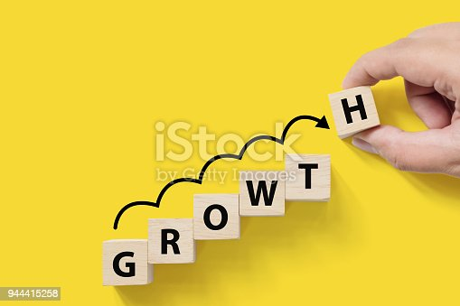 istock Business success growing growth increase up concept. Wooded cube block on white background with word GROWTH and copy space for your text 944415258