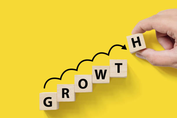 business success growing growth increase up concept. wooded cube block on white background with word growth and copy space for your text - performance management stock photos and pictures
