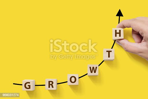 1051659174istockphoto Business success growing growth increase up concept. Wooded cube block on white background with word GROWTH and copy space for your text 956031274