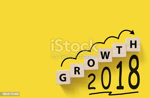 513121118 istock photo Business success growing growth increase up concept. Wooded cube block on yellow background with word GROWTH and 2018, Copy space for your text 960676468