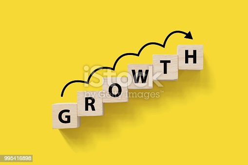 1051659174istockphoto Business success growing growth increase up concept. Wooded cube block on white background with word GROWTH and copy space for your text 995416898
