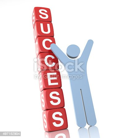 Success Cube with happy worker. Isolated white background.