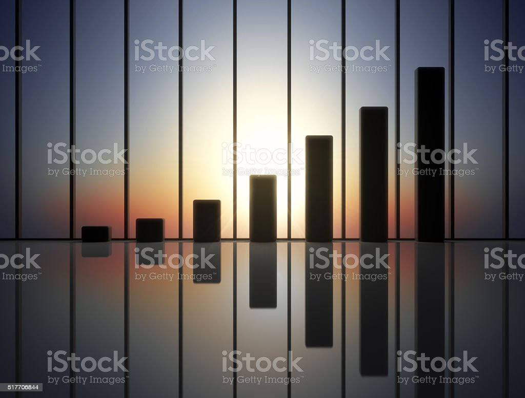 Growing statistic bars. Business success and financial growth concept.