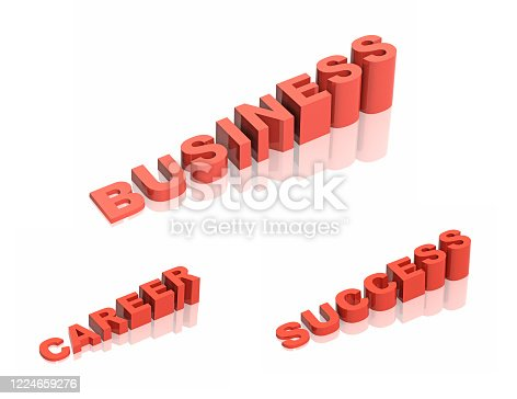 Business success startup. Set of conceptual steps up ladders. Staircase of letters in words business, success, career. Isolated on white background. 3d render