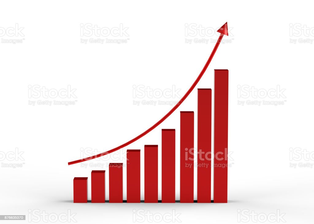 Business success with growing, rising charts, arrow upward stock photo