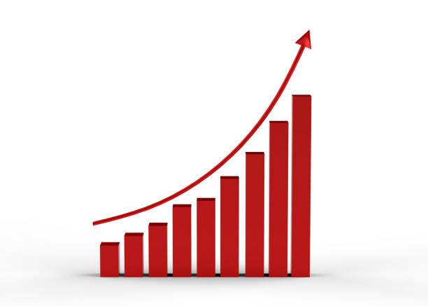 business success with growing, rising charts, arrow upward - graph stock photos and pictures