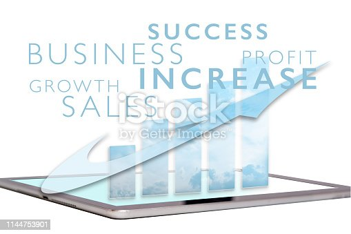 Business success word cloud with chart on tablet computer