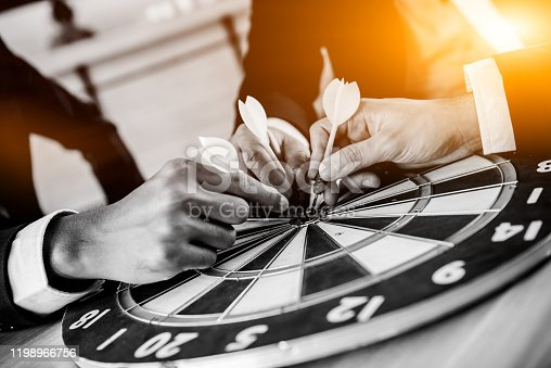 istock Business successful and goal concept with dart board game. Businessman with team for teamwork. 1198966756