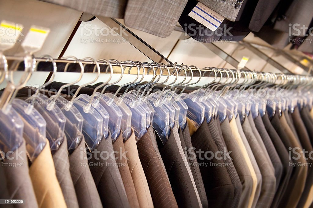 business suit on clothes rail stock photo