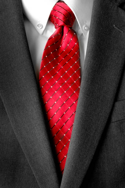 business suit white shirt and red tie - modedetails stock-fotos und bilder