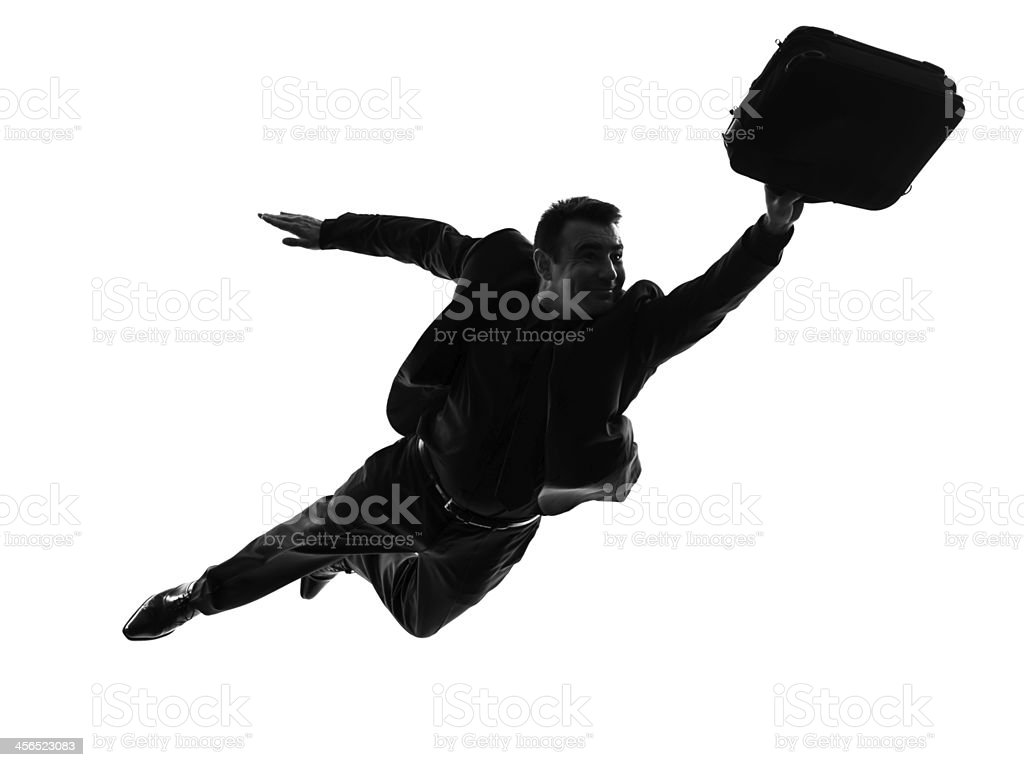 business super man flying silhouette royalty-free stock photo
