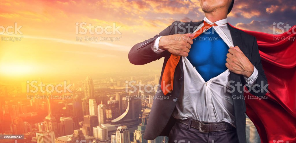 Business superhero. Mixed media stock photo