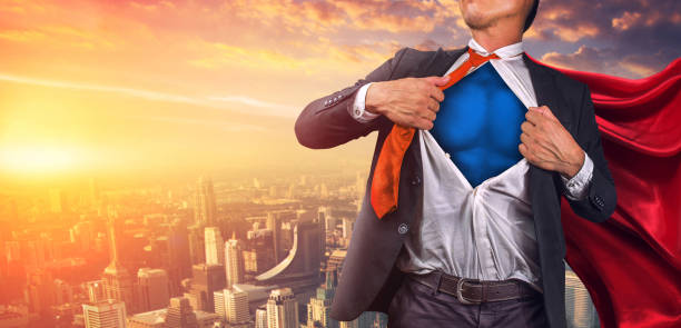 Business superhero. Mixed media stock photo