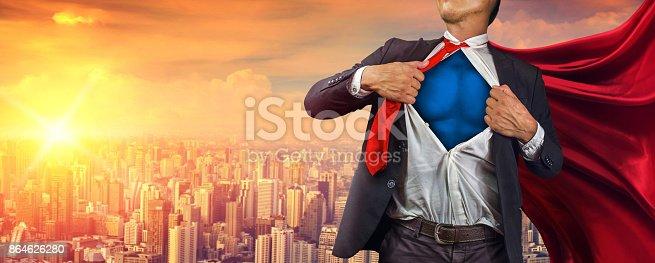 istock Business superhero. Mixed media 864626280