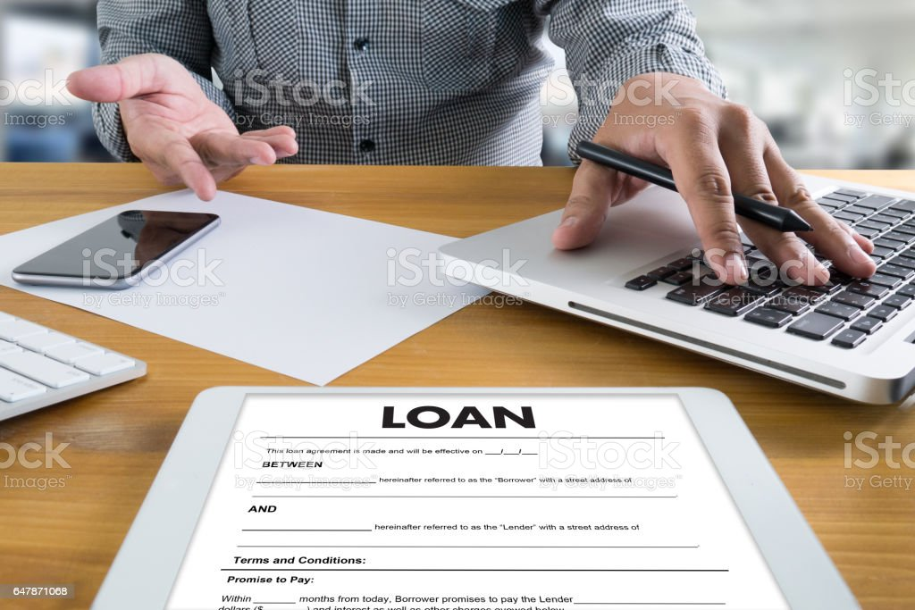 Business Support  COMMERCIAL LOAN , document and agreement signing stock photo
