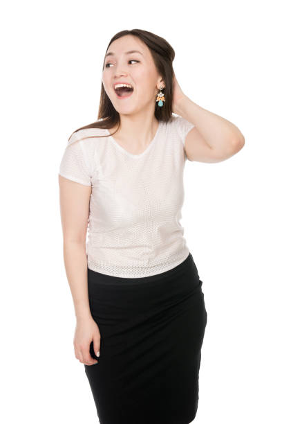 Business surprised girl with open mouth looking to the side stock photo