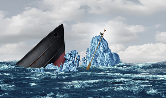 Business survival concept as a strategic businessman surviving an iceberg crash and managing a crisis with smart innovative thinking with 3D illustration elements.